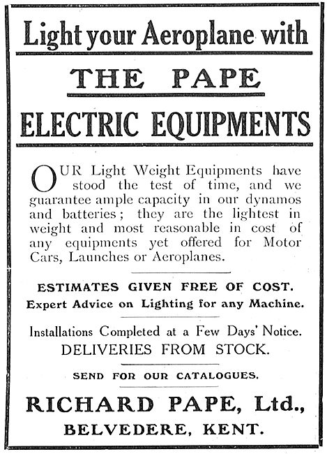 Light Your Aeroplane With The Pape Electric Equipments
