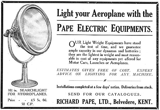 Pape Electrical Lighting Equipment For Aeroplanes