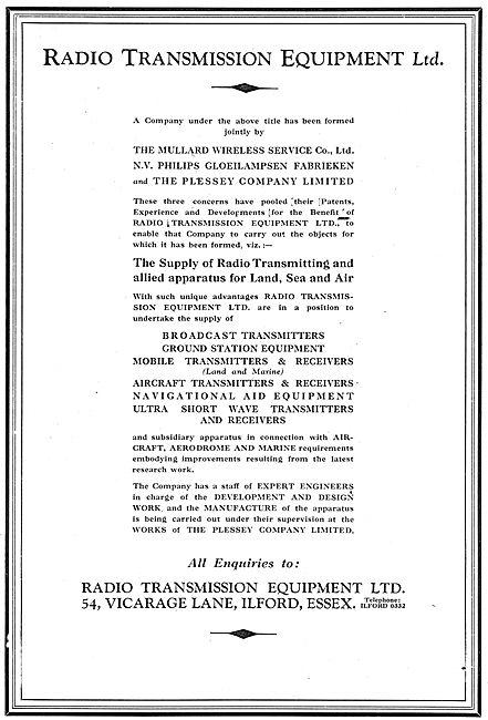 Radio Transmission Equipment - RTE : Mullard : Plessey : Philips